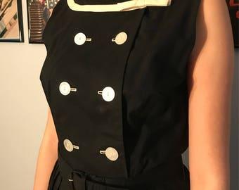 Vintage 1950's Cotton Sailor Style Day Dress
