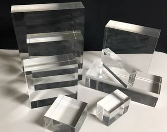 """Clear Lucite/acrylic Solid Block 3"""" wide x 3"""" long x 3"""" thick"""
