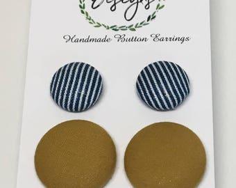 "Handmade Fabric Button Earrings - Blue Pin & Tan, Simply ""Classy"""