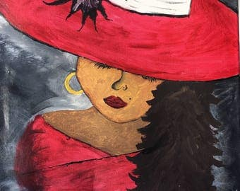 Mysterious Black Magic Lady in Red acrylic on canvas