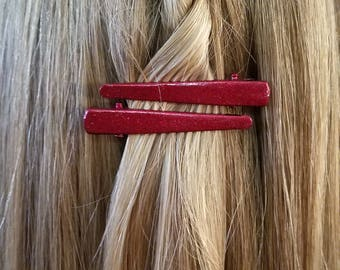 Crimson Red Sparkly Alligator Hair Clip