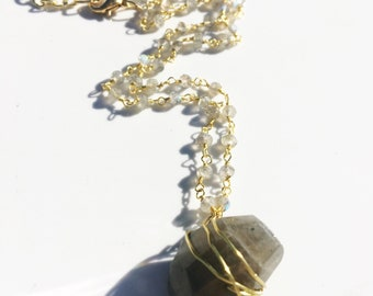 Raw Labradorite Nugget wrapped with 14k Gold filled wite and Labradorite 14k Gold Filled Chain Necklace!