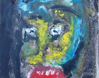 Raw art outsider oil on canvas 40 x 50 cm