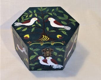 Hand-Painted wooden trinket box