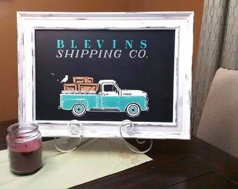 Custom last name chalkboard sign, shipping company, home decor, vintage truck, beach, spring, summer, seaside