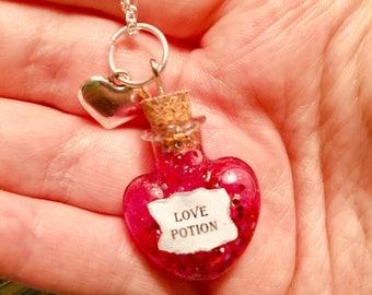 Love Potion Bottle Charm Necklace