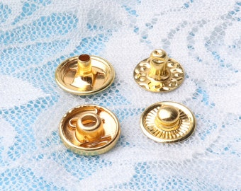 gold snap buttons snap fastener metal snap buttons press stud for clothes accessories 20sets 12mm diameter