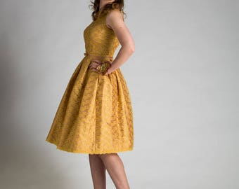 Two Piece Yellow Gold Lace Prom Party Occasion Wedding Dress Skirt