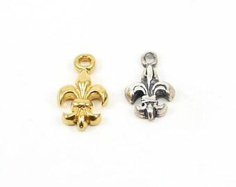 3D Realistic Fleur di Lis Charm Pendant in Sterling Silver or Vermeil Gold