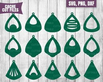 Pendant earring SVG cut files, Pendant Drop Earring cut files for silhouette, cricut, etc, 15 pendant coin drop earring SVG bundle with hole