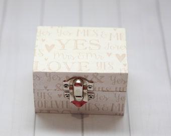 Engagment box,Personalised Ring Box, Wedding Ring Box,decoupage,handmade