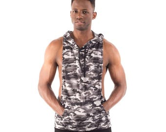 Camo Army Gray Men's Racerback Dry Fit Sleeveless Stringer Hoodie Camouflage