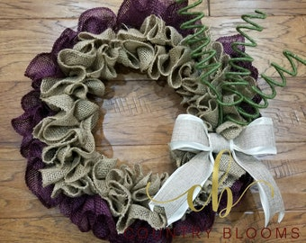 Burlap Front Door Wreath, Plum and Moss Green Decor, Gift for Mom, Gift for Her, Everyday Wreath