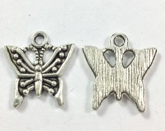 Butterfly Charms, Silver Butterflies, Antiqued Pewter, Butterflies, Insect Charms, Garden Charms, Bracelet Charms, Butterfly Findings, Bugs
