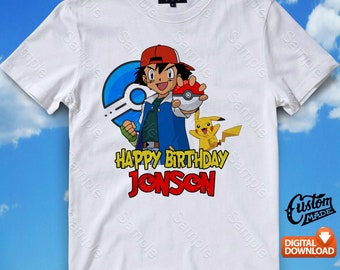 Pokemon Iron On Transfer, Pokemon Birthday Shirt DIY, Pokemon Shirt Designs, Pokemon Printable, Pokemon, Personalize, Digital Files