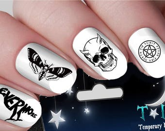Gothic nail art etsy witchcraft death moth occult gothic nail art wraps water transfers nails decals nail stickers ti45 prinsesfo Image collections