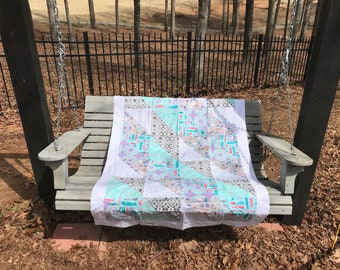 Teal, purple, and gray handmade baby quilt Quilt