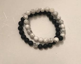 Yin and Yang Howlite and Lava Stone Bracelets (2)