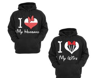 Hoodies for Couple I Love My Husband ,I Love My Wife Disney Couple Goal Popular Designs