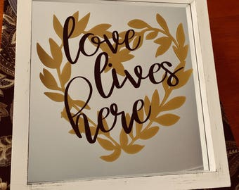 Love Lives Here Hangable Mirror