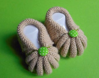 In the Dordogne Pumpkins by hand knitted baby booties - Beige and green