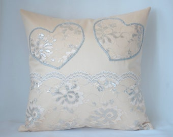 Beige decorative pillow for couch, decorative throw pillow cover 16x16 Pillow with applique heart Pillow gift for woman Cushion with a lace