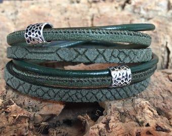 Wrap Bracelet Green Reptile