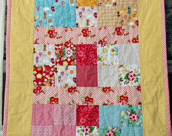 Baby Quilt, Yellow & Red Patchwork, Baby Blanket