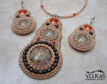 Bead embroidered jewelry set with Mexican crazy lace agate and Swarovski crystals