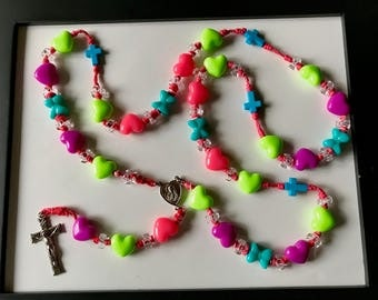 Child's Hearts and Bows Rosary