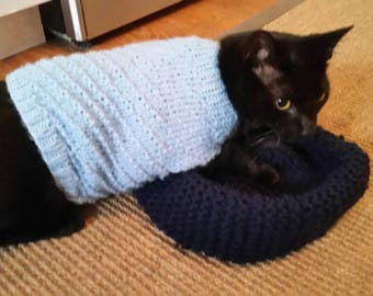 Pet Sweater, Hand Knit Pet Sweater, Cat Sweater, Dog Sweater, Pet Jacket, Pet Clothing, Cat Clothing, Dog Clothing