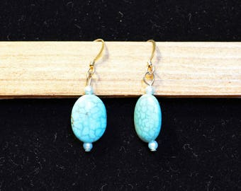 Turquoise Stone Drop Earrings