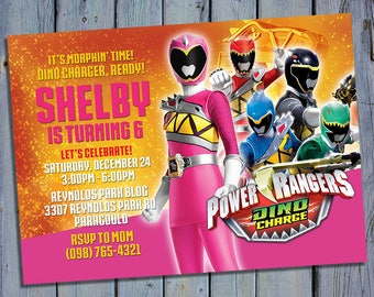 Pink Ranger Birthday Invitation, Power Ranger Pink Party Card Invite, Rangers Dino Charge Printable, Digital Invitations, Custom Printables