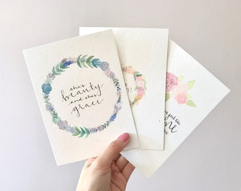 personalized card / custom card / hand painted card / hand lettering / handmade card / watercolour card / flower wreath / floral card
