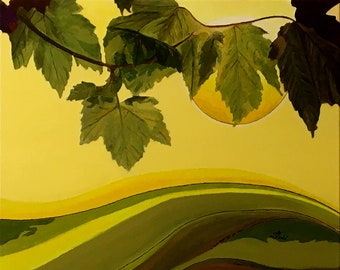 Landscape with grape leaves