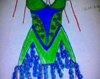 Green Flapper Fashion Illustration