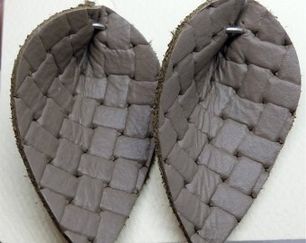 Gray Basket Weave Embossed Leather Leaf Earrings
