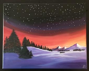 snowy sunset in Acrylic