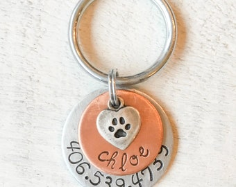 Paw Print Heart Dog Tag, Personalized Dog Tag, Custom Dog Tag, Dog id Tag, Dog Name Tag, Copper Dog Tag, Pet id Tag, Handmade Dog Tag