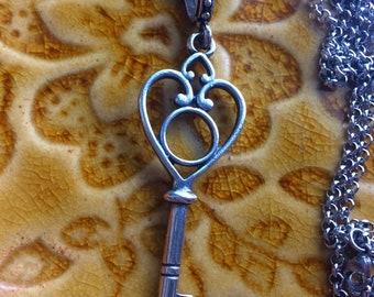 KEY NECKLACE, Key Pendant Necklace, Silver Key Necklace, Silver Key Pendant, Long Key Necklace, Silver Key