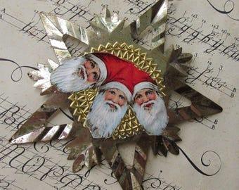 Vintage Style Christmas Ornament Sweden Santa Scraps Dresden Medallion Trim Snowflake Star