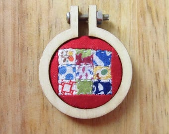 Tiny Quilt Necklace Pendant - Mini Wood Hoop