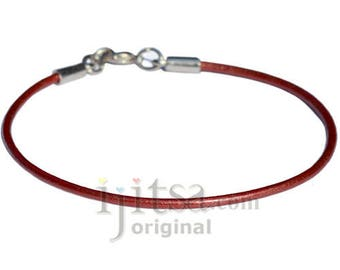 2mm moroccan red leather bracelet or anklet, metal clasp