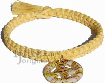 Light yellow flat wide hemp necklace with yellow/orange Murano glass Peace