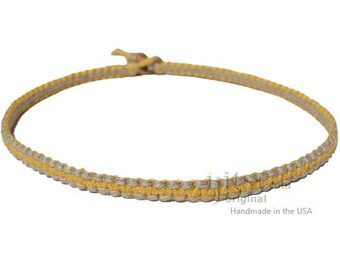 Yellow and Natural Flat Hemp Surfer Style Necklace