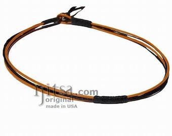 Round Marigold leather & black hemp surfer necklace