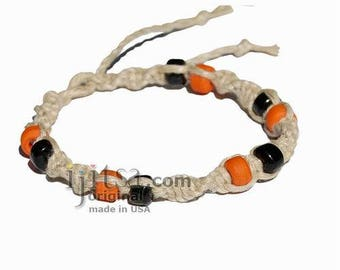 Natural twisted hemp bracelet or anklet with black and orange glass beads