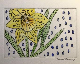 Spring Rain original hand colored etching