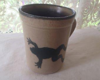 Salmon Falls Pottery Coffee Mug Leaping Frog Cobalt Blue Salt Glaze Vintage Kitchen Ware Cup