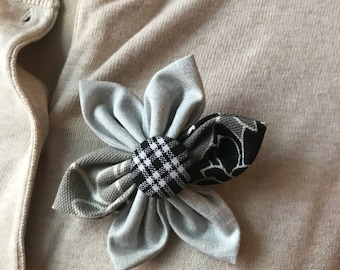 Gray and Black Fabric Flower Brooch, Flower Pin - Handmade Fabric Flower